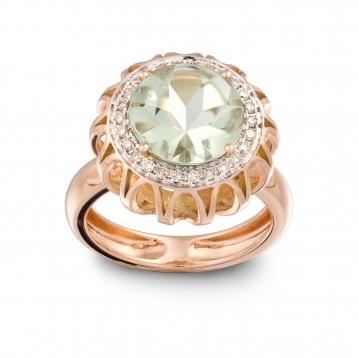 RING Maxi ROSE GOLD, PRASIOLITE AND BROWN DIAMONDS