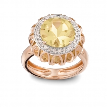 RING LEMON QUARTZ, ROSE GOLD AND DIAMONDS