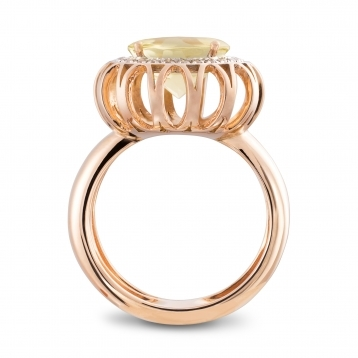 RING Maxi ROSE GOLD. LEMON QUARTZ AND BROWN DIAMONDS