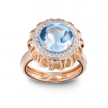 Anello Maxi In Oro Rosa, Topazio Azzurro e Diamanti Brown