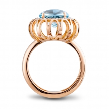 RING Maxi ROSE GOLD, BLUE TOPAZ AND BROWN DIAMONDS