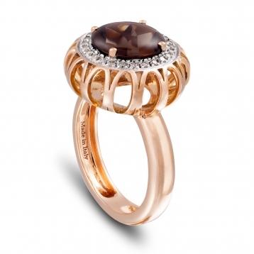 Anello Maxi In Oro Rosa, Quarzo Fumè e Diamanti Brown