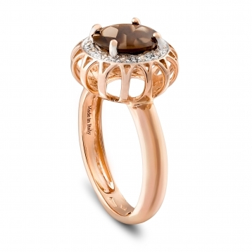 Rings in rose gold and fume quartz with diamonds