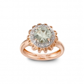 RING PRASIOLITE, DIAMONDS AND ROSE GOLD MLP-R4N-AN113PRS