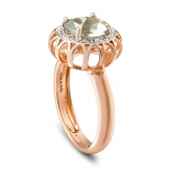 Ring in rose gold and prasiolite with diamonds