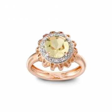 Anello in oro rosa, quarzo lemon e diamanti brown