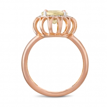 Ring in rose gold and lemon quartz with diamonds