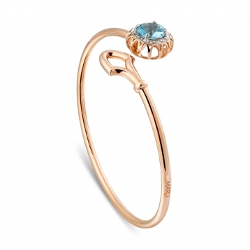 Bracelet in rose gold and blue topaz with brown diamonds