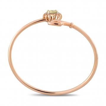 Bracciale in oro rosa, quarzo lemon e diamanti brown