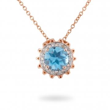 Collana In Oro Rosa, Topazio Azzurro e Diamanti Brown