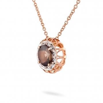 Necklace smoky quartz, rose gold and brown diamonds