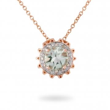 NECKLACE PRASIOLITE, ROSE GOLD AND BROWN DIAMONDS