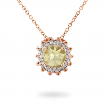 NECKLACE LEMON QUARTZ, ROSE GOLD AND BROWN DIAMONDS