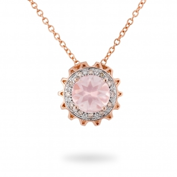 Collana In Oro Rosa, Quarzo Rosa e Diamanti Brown