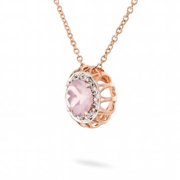 Necklace pink quartz, rose gold and brown diamonds