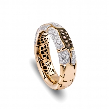 Narrow band ring in rose gold and diamonds
