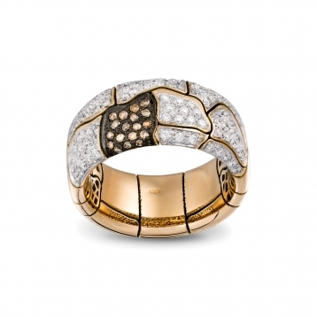 Wide band ring in rose gold and diamonds