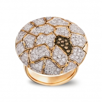 Large plateau Ring Rose Gold and Diamonds - MWS-R4N-AN5177F