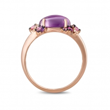 Anello mini in oro rosa, diamanti, ametista e zaffiri rosa