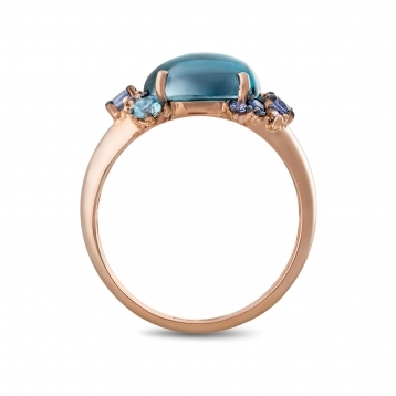 Anello mini in oro rosa, diamanti, topazio blu london e zaffiri blu