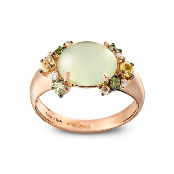 Mini ring in rose gold with prehnite, green and yellow sapphires