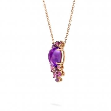 Collana mini in oro rosa, diamanti, ametista e zaffiri rosa