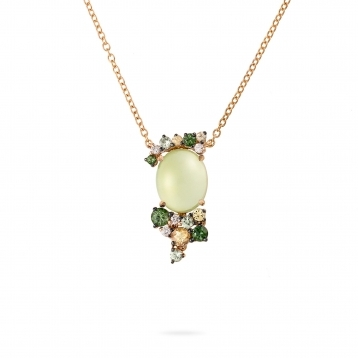 Mini necklace, diamonds, prehnite, green and yellow sapphires - MN7MI-R4N-CO112PRH