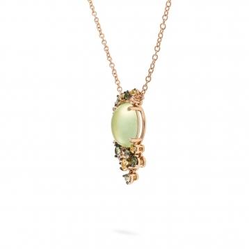 Collana mini in oro rosa, diamanti, prehnite e zaffiri verdi e gialli