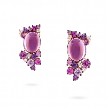 Rose gold mini earrings with diamonds, amethysts and rose sapphires