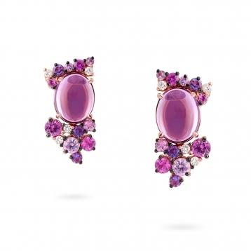 Orecchini mini in oro rosa, diamanti, ametista e zaffiri rosa