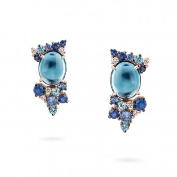 Rose gold mini earrings, diamonds, topaz and blue sapphires