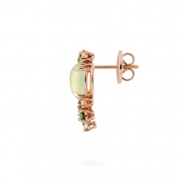 Orecchini mini in oro rosa, diamanti, prehnite e zaffiri verdi e gialli