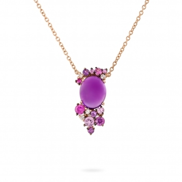 Rose gold mini necklace with diamonds, amethysts and rose sapphires
