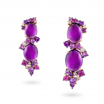 Rose gold earrings, diamonds, amethysts and rose sapphires - MN7-R4N-OR110AMT