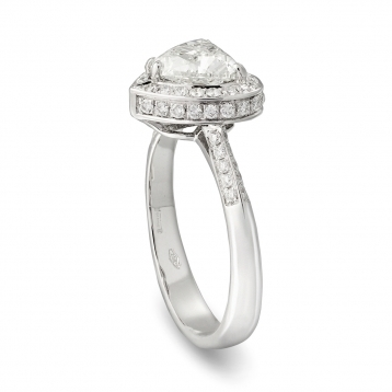 Ring in white gold with diamond Heart cut