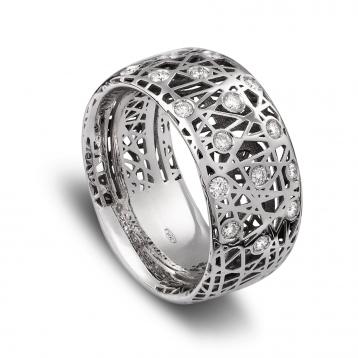 Anello fascia alta oro bianco e diamanti