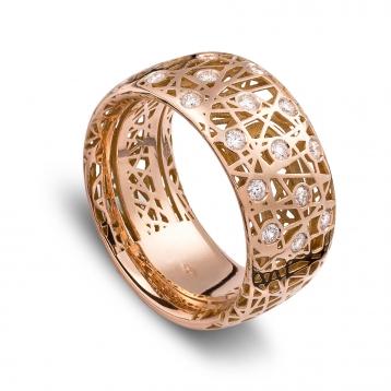Anello fascia alta oro rosa e diamanti