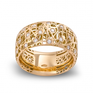 Wide band ring yellow gold and diamonds - MMN-G-AN4975F