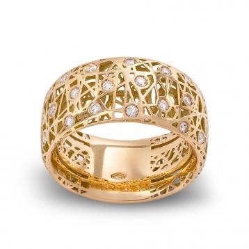 Anello fascia alta oro giallo e diamanti - MMN-G-AN4975F