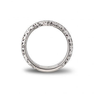 Narrow band ring white gold and diamonds