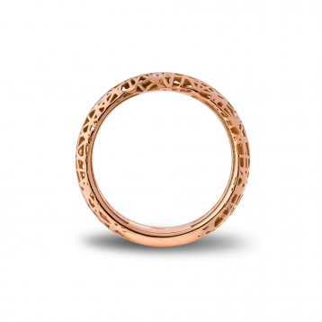 Narrow band ring rose gold and diamonds