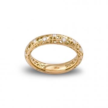 Anello fascia bassa oro giallo e diamanti