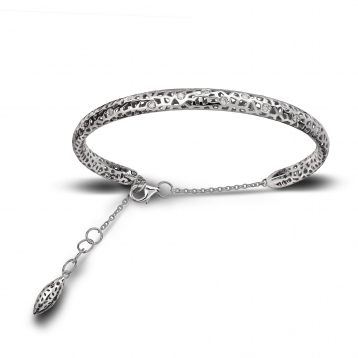 Bracelet small handcuff white gold and diamonds