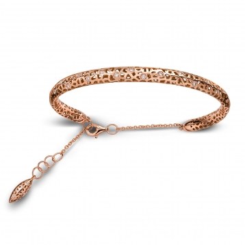 Bracelet small handcuff rose gold and diamonds