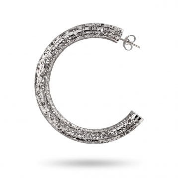 Large hoop earrings white gold and diamonds