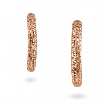 Large hoop earrings rose gold and diamonds