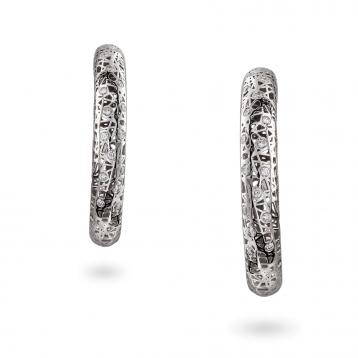Orecchini cerchio medi oro bianco e diamanti - MMN-B-OR4972F300