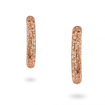 Medium hoop earrings rose gold and diamonds - MMN-R-OR4972F300