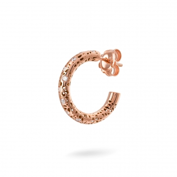 Small hoop earrings rose gold and diamonds