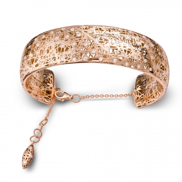 Bracciale manetta grande oro rosa e diamanti